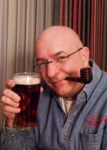 JC with a pint of Free State Copperhead pale ale at home on Saturday.
