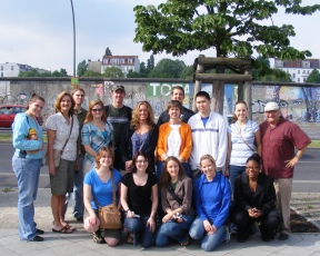 Our whole Ball State group in front of a preserved section of the Berlin Wall.