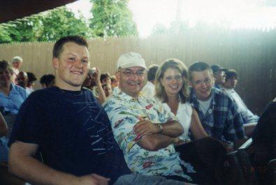 2002. At Busch Gardens in Williamsburg with Ben Bucher, Betsy Baird, and Brian Paulsen.