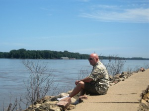 On the banks of the Missisippi in Hannibal.