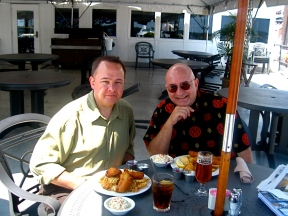 Ken and me at lunch today on a floating restaurant in Portland, Maine.