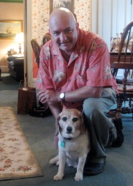 With Jimmy, the Innkeeper's dog.