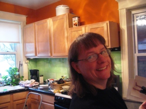 Beth finishes up the kitchen this morning.