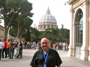 JC at the Vatican. That's St. Peter's Basilica dome in the background.