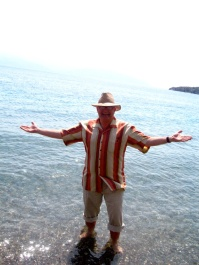 JC goes wading in the Gulf of Corinth, May 2009.