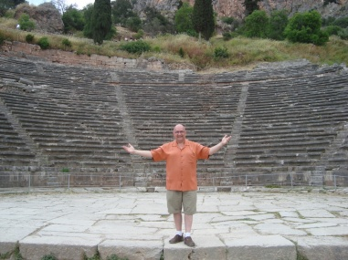 On stage at the ancient auditorium near the Temple of Apollo in Delphi.