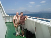 With Dolph near the end of our 2009 sea voyage, approaching Patra.