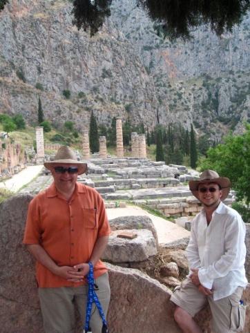 JC and Dolph near the Temple of Apollo at Delphi.