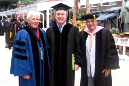 Dean Peter Sargent, Maestro David Robertson, JC before Webster University's 90th commencement.