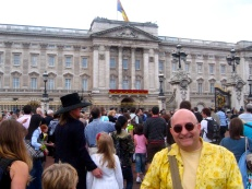 JC in front of Buckingham Palace before the royal appearance.