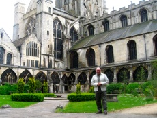 JC in the cloister at Gloucester Cathedral.