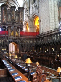 The quire at Gloucester Cathedral.