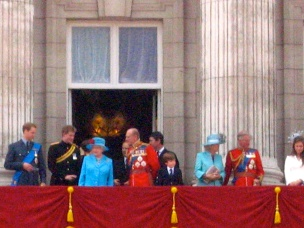 HM the Queen and others of the royal family on the balcony of Buckingham Palace.