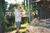 Feeding the parrots and toucans at my host home, Brazil, 2001.