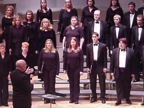 Conducting the Ball State University Chamber Choir in 2003.