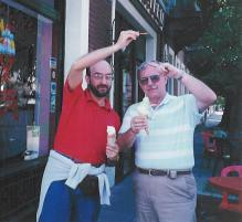 1994. Gelata in Buenos Aires with my father. I'm trying to indicate how high the gelato had been mounded on the cone, using only a slight bit of hyperbole.
