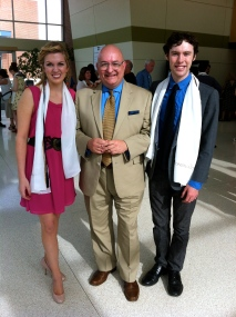 With voice students Audrey McHale and Kyle Acheson at the honors ceremony prior to 2012 commencement.