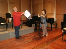 Teaching a conducting master class at Shanghai Normal University in 2005.