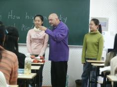 Teaching a freshman voice class at Shanghai Normal University, 2005.