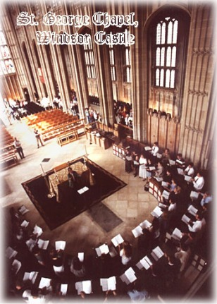 1997. At St. George's Windsor, England, preparing for an Evensong. That's me at left center with my arms crossed, standing at the foot of the aisle.