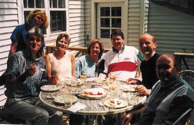 With Simon Carrington and Bob Chilcott and KU doctoral colleagues at Simon's house in Lawrence, 1997.