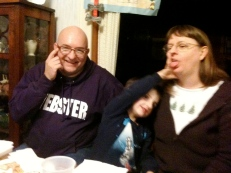 My nephew Joseph and my sister Beth. I'm amused.
