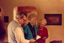 My father, maternal grandmother, and maternal great-aunt Esther at G-ma's house, ca. 1985.