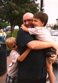 With my nephews Luke and Joseph last summer, waiting for the Amtrak home.