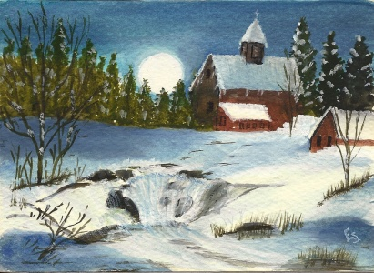 Aunt Esther's hand-painted Christmas card, 1990.
