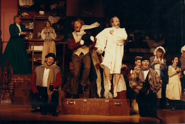 Dancing on my coffin in 'Scrooge.'  That's me in the cream-colored nightshirt with no socks.