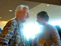 Peter Sargent, backlit like the grand man he is, with Bruce Longworth.