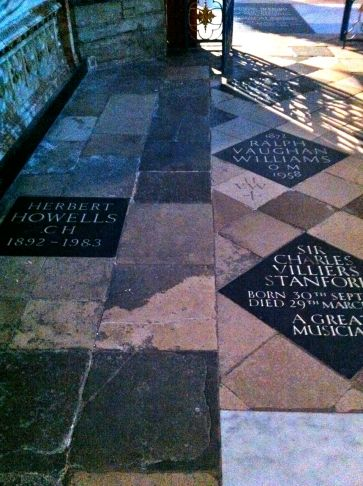 Howells, Vaughan Williams, and Stanford, all together in eternal rest at Westminster Abbey.