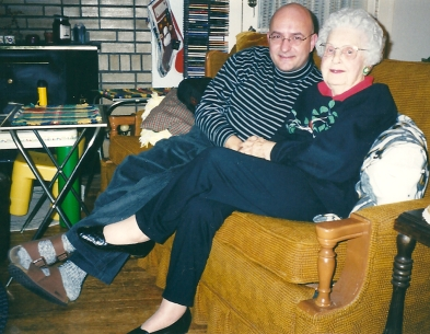 With Aunt Esther at Christmas 1999.