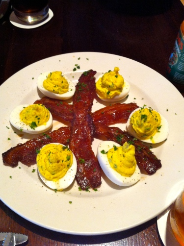 Deviled eggs and brown sugar bacon at lunch with music staff and clergy on Friday.