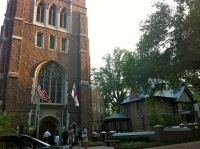 The Ellenwood tower entrance on Friday evening as I departed three days of church-ness.