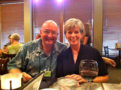 With Kat Singleton at dinner.
