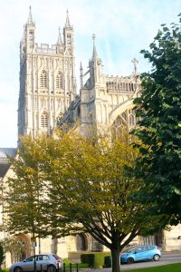 Gloucester Cathedral from the Close.