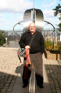 Standing astride the Prime Meridian in Greenwich in October.
