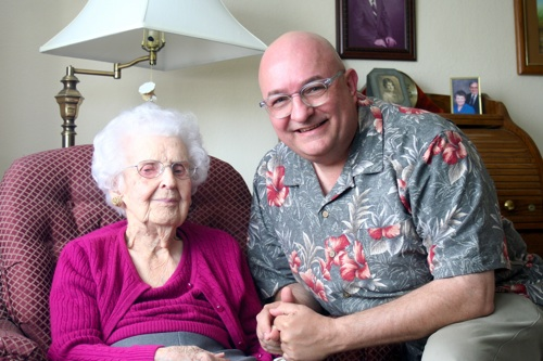 My last photo with Aunt Esther, here at 100 and a few weeks, in May 2012.