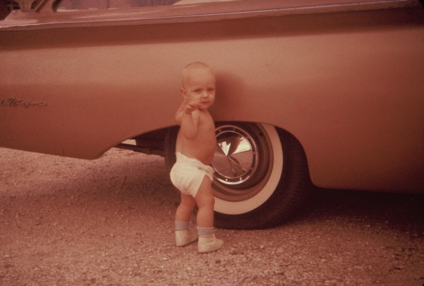 I was learning hopefully to change a tire, or maybe I was just hoping to mess my diaper unnoticed.