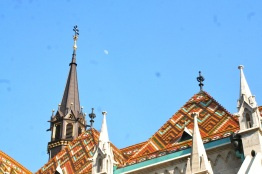 Tile roof of St. Matthias Church. Notice the moon.