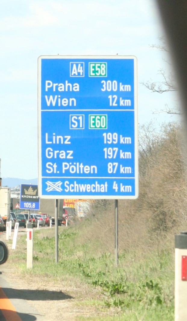 One knows one is in Vienna when one sees a roadsign for Prague, 300 km.