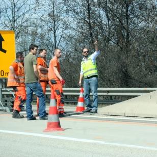 Road crew, sort of at work.