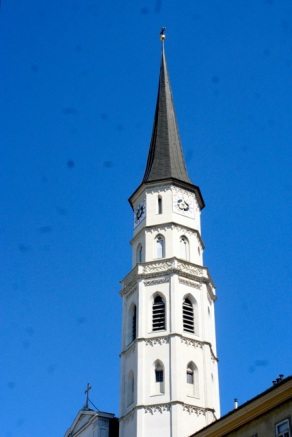 The tower of St. Michael's Church by the Hofburg.