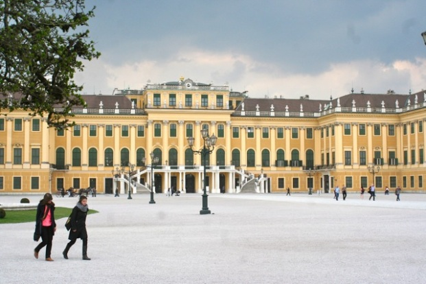 Schoenbrunn's forecourt as the clouds rolled in today.