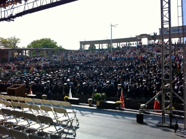 The arena is filling up, as viewed from back stage.