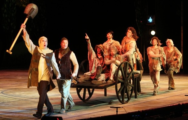 That's Webster alum (and my former voice student) Jacob Lacopo, second from right, in this big number from Spamalot at the Muny.