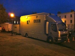 The BBC remote broadcast truck parked outside of the cathedral on Tuesday evening.
