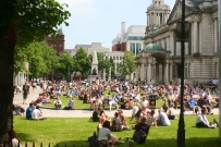 On a very warm day in Belfast, City Hall was flooded with sun-seekers at lunchtime.
