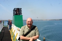 On deck, with Wales in the distance as we move up the Severn Estuary.
